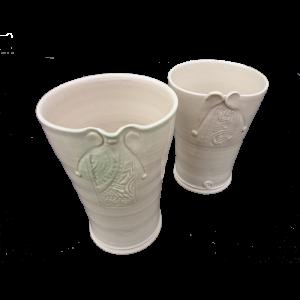 Vases-with-impressed-panel-decoration-transparent-glaze Ceramics