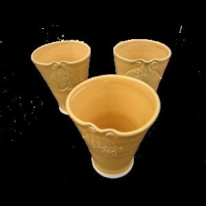 Yellow vases Impressed relief panel Ceramics